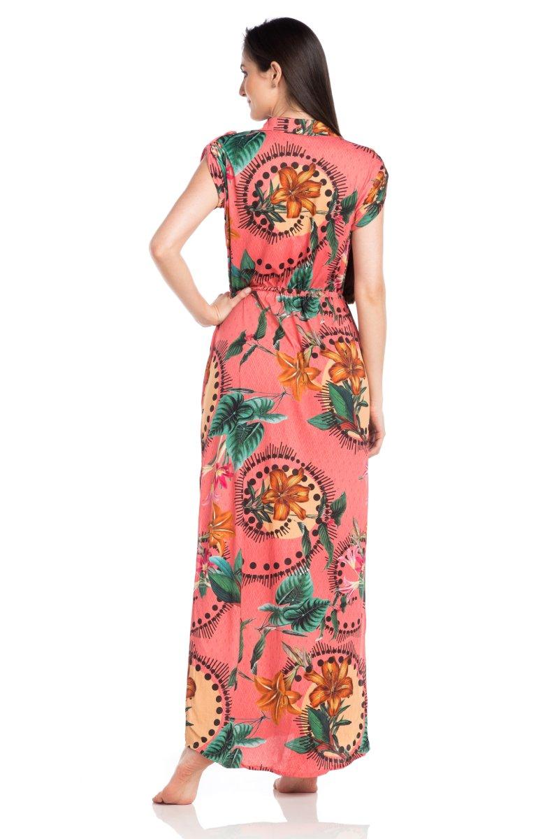 Vestido Longo Estampado Floral Rosa 32045043 La Playa