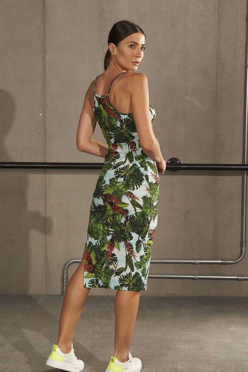 Vestido Midi Canelado Estampado Jardim Verde 445700238 Colcci