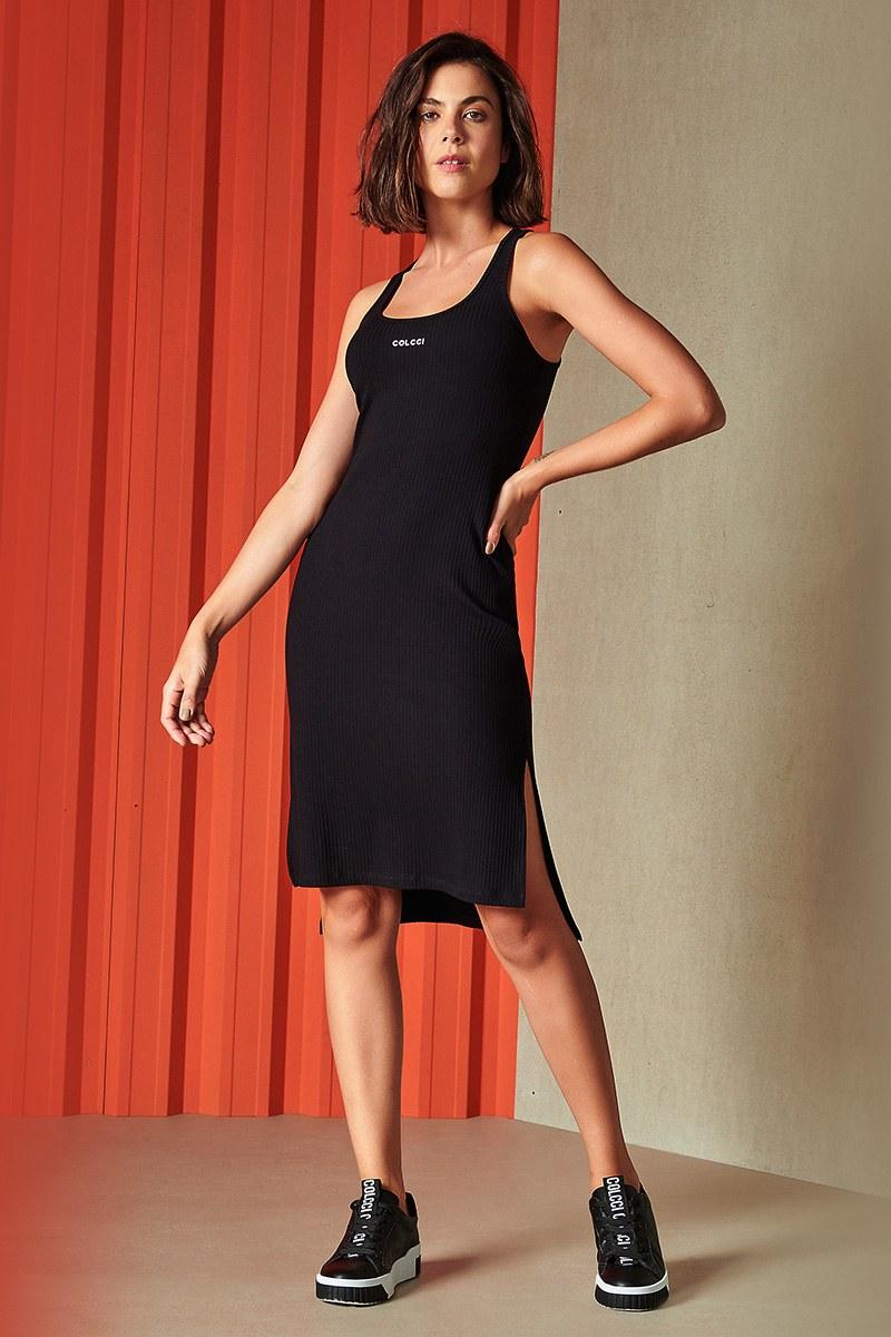 Vestido Feminino Midi Canelado Preto 0445700184 Colcci By Colcci