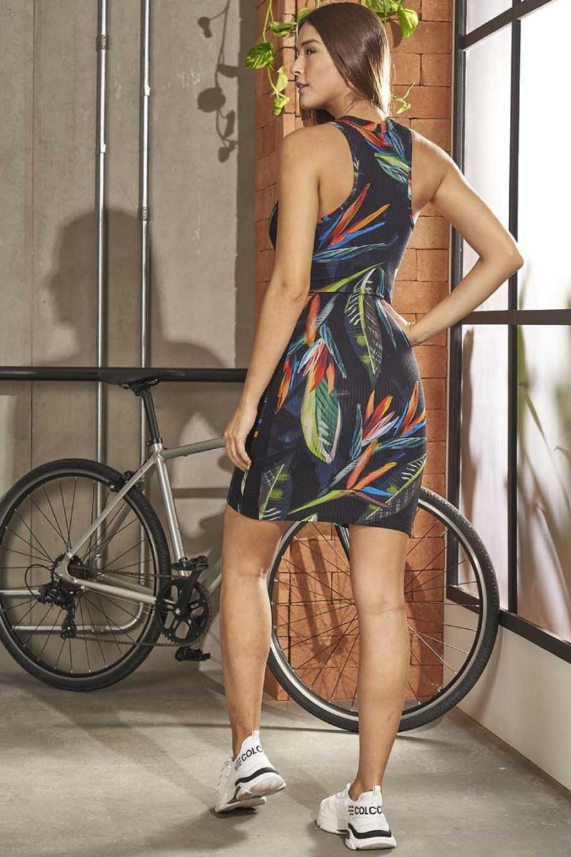 Vestido Midi Estampado Paleta Azul 445700231 Colcci