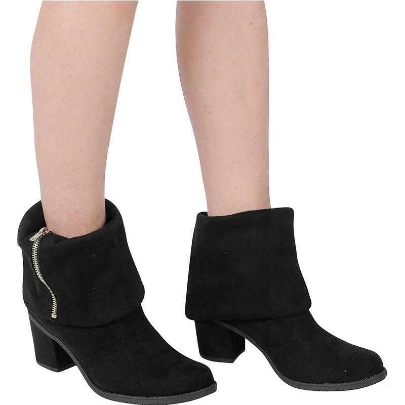 Bota Salto Grosso Ankle Boot Dobrável 122.01.009 | Preto