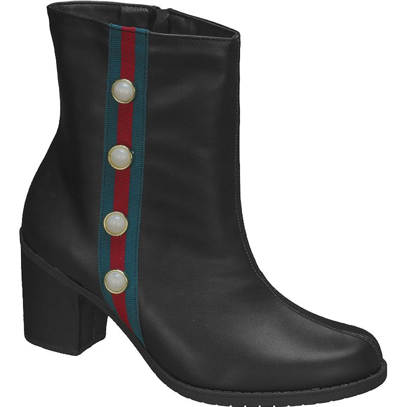 Bota Salto Grosso Ankle Boot Faixa Lateral 122.05.009 | Preto