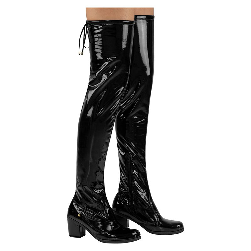 Bota Salto Feminina Over The Knee Verniz Stretch 122.09.172 | Preto