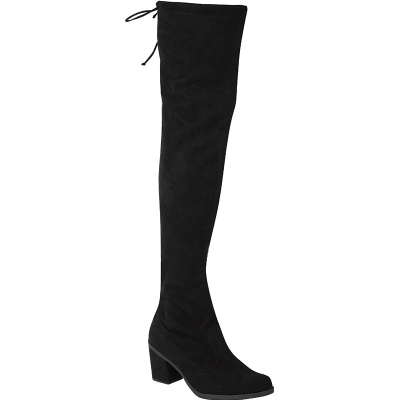 Bota Salto Grosso Over The Knee Camurça Stretch 122.03.009 | Preto