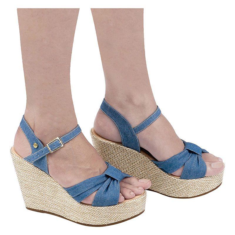 Sandália Anabela de Laço com Sola Juta 105.23.031 | Jeans Azul
