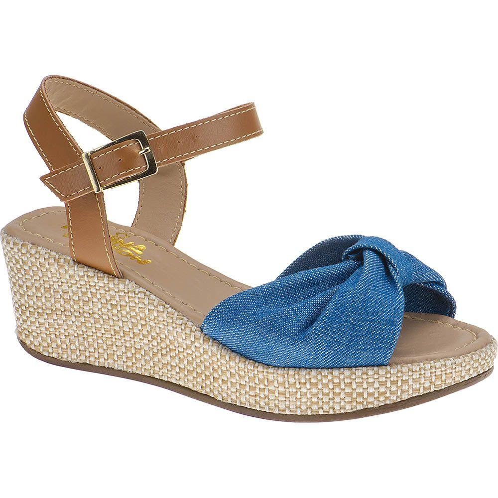 Sandália Anabela Infantil Menina Fashion Fivela 67.86.031 | Jeans azul