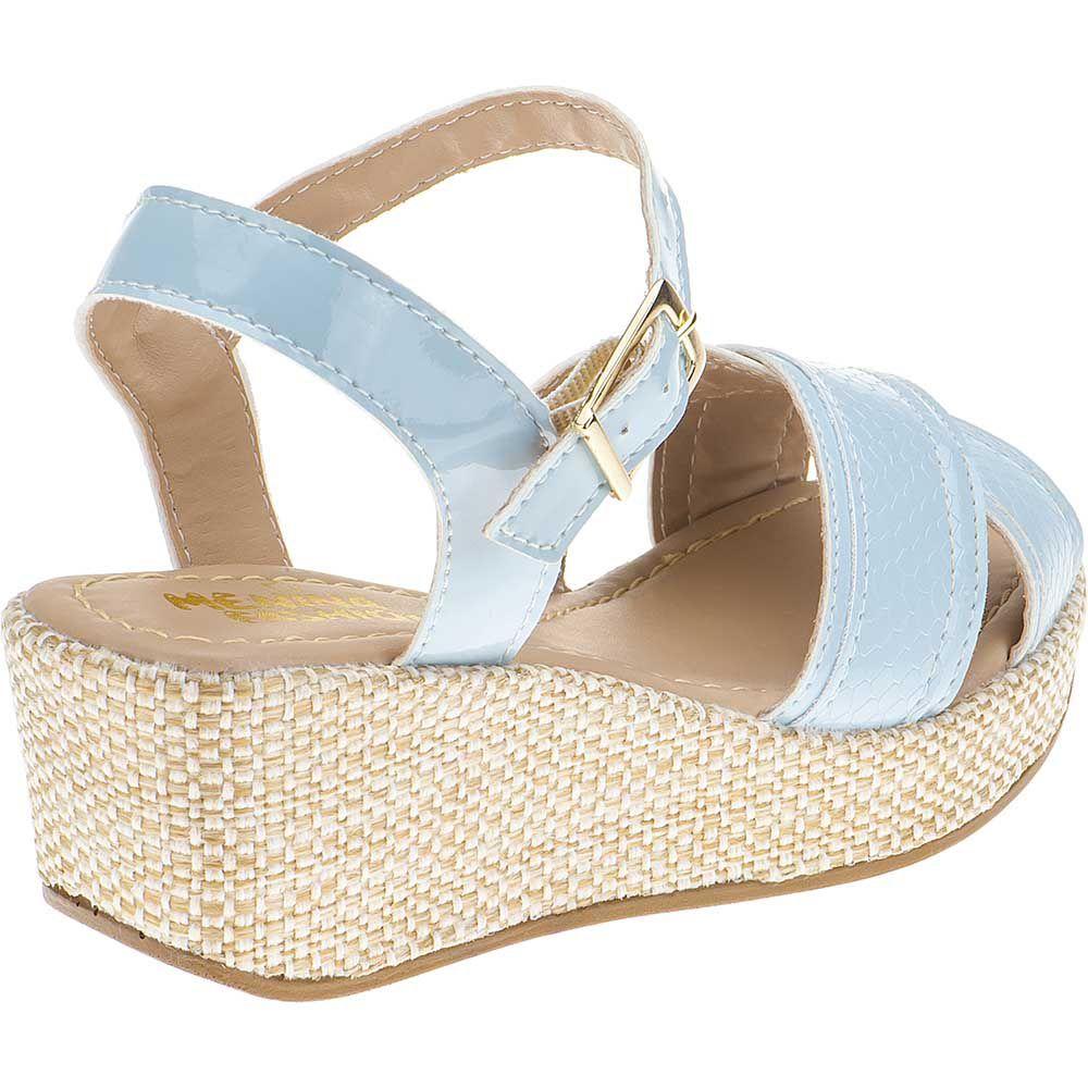 Sandália Anabela Infantil Menina Fashion Trançado Croco 67.88.118 | Azul Aqua