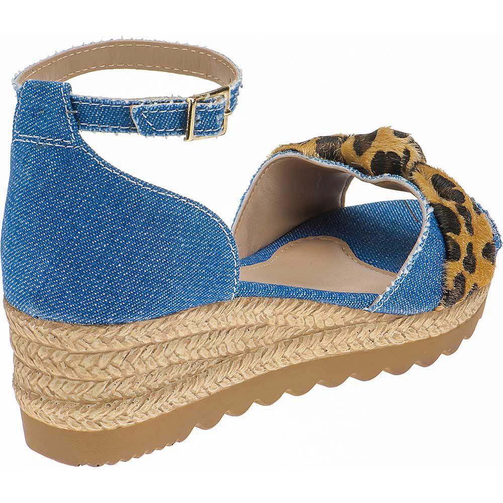 Sandália Anabela Infantil Tratorada Menina Fashion Sola Corda Onça 87.03.031 | Jeans Azul