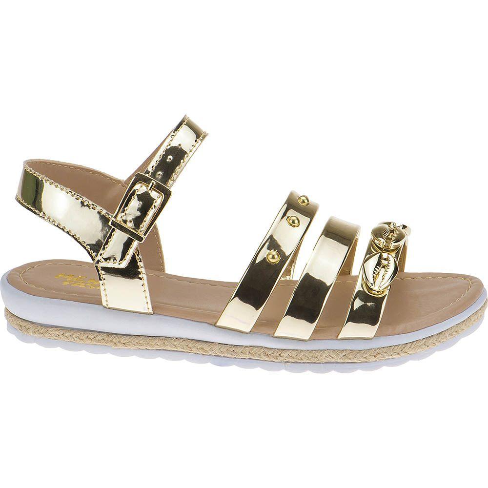 Sandália Anabela Slim Infantil Menina Fashion Concha Strass 69.01.033 | Dourado