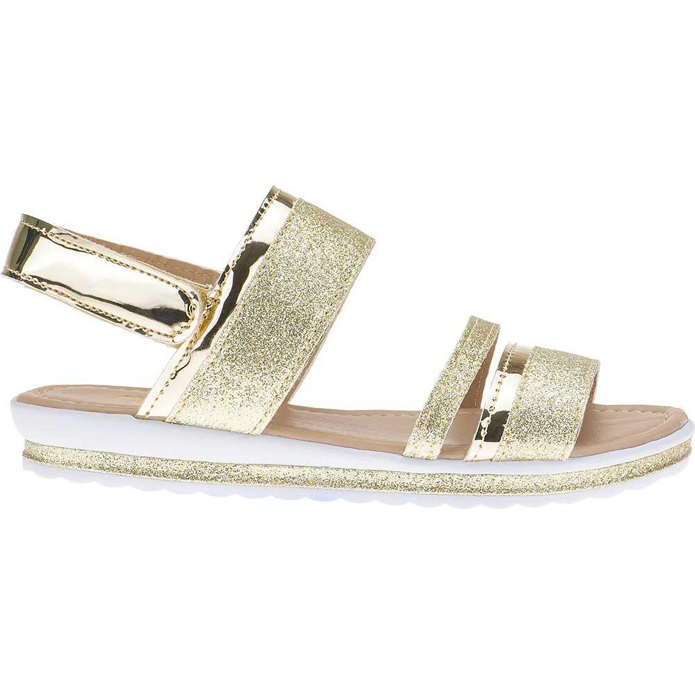 Sandália Anabela Slim Infantil Menina Fashion Strass Brilho Velcro 69.05.033 | Dourado