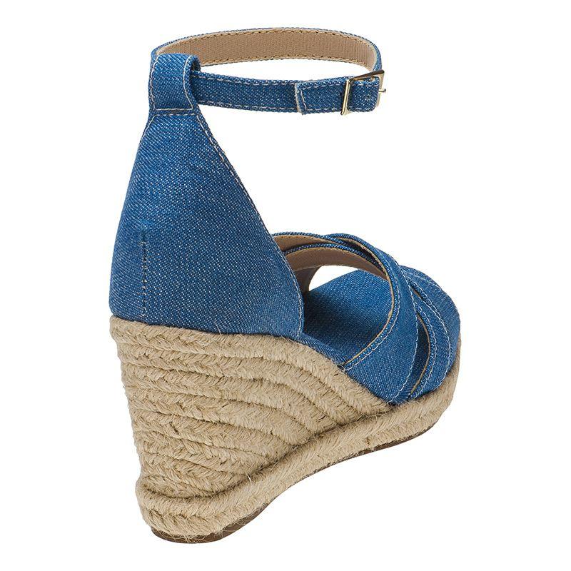 Sandália Feminina Anabela Nobuck Sola Corda 105.26.031 | Jeans Azul