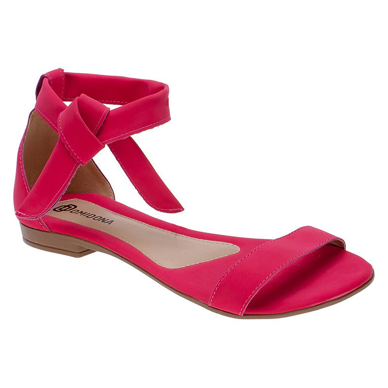 Sandália Feminina Flat Rasteira Nobuck Com Laço 106.09.003 | Pink
