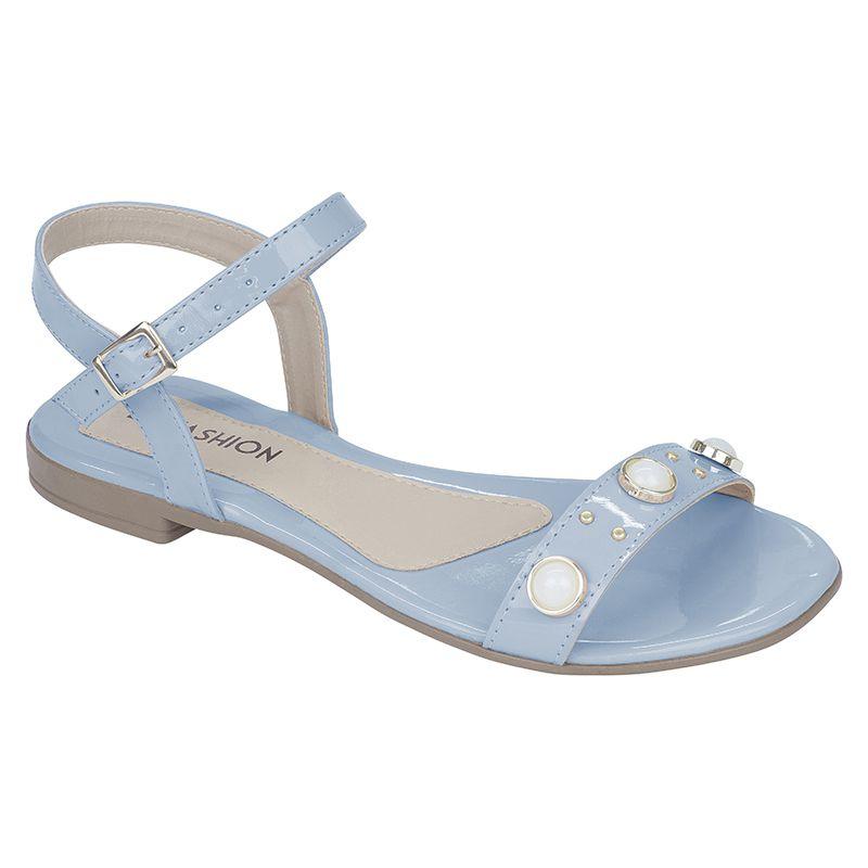 Sandália Feminina Flat Rasteira Verniz Com Enfeites Perola 106.10.089 | Azul claro