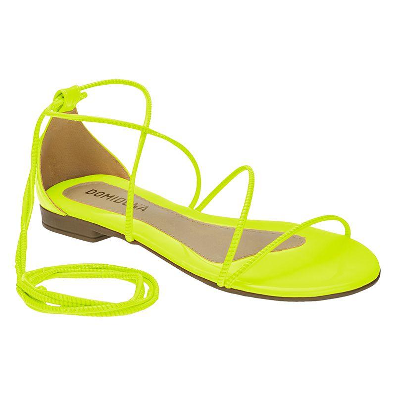 Sandália Feminina Rasteira Domidona Fluorescente Gladiadora Amarração 106.14.097 | Amarelo Neon