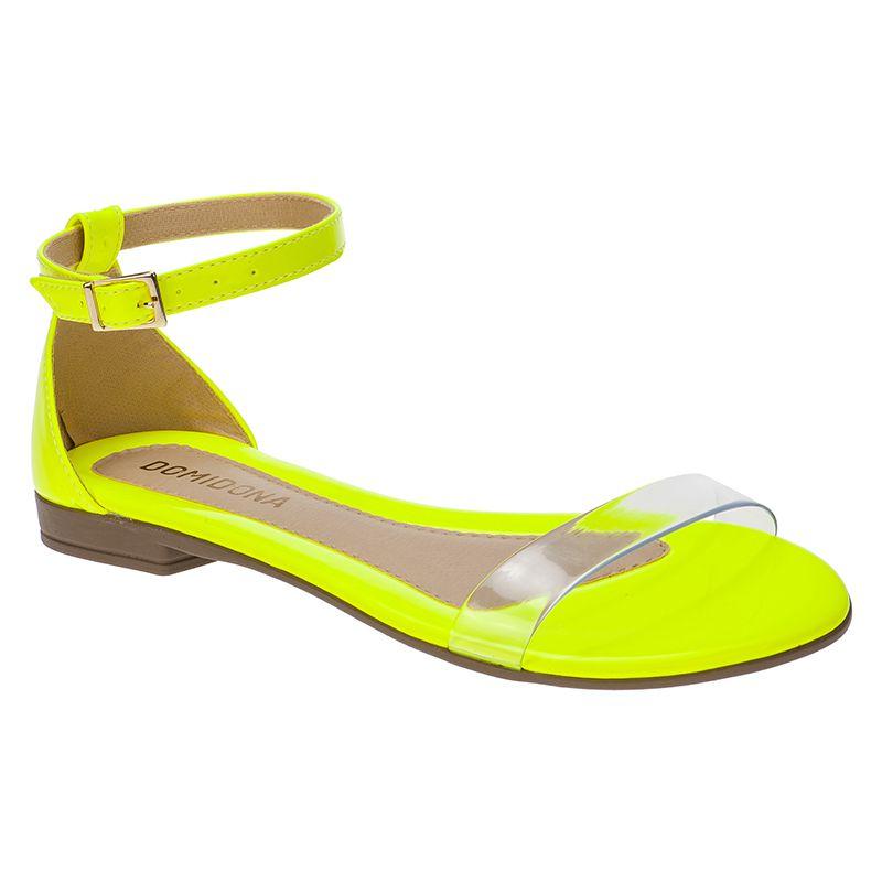 Sandália Feminina Rasteira Domidona Fluorescente Tira Transparente 106.13.097 | Amarelo Neon