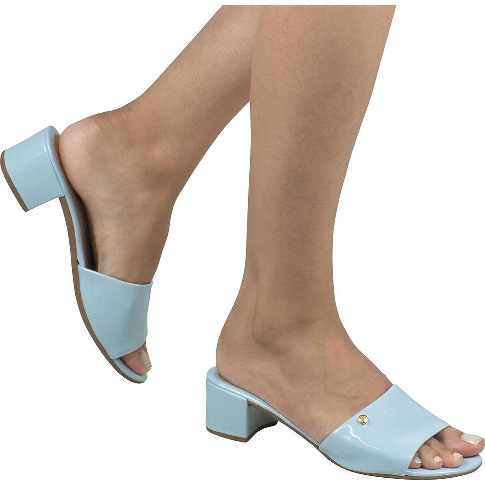 Sandália Feminina Salto Grosso Domidona Verniz Casual Básico 116.17.118 | Azul Aqua