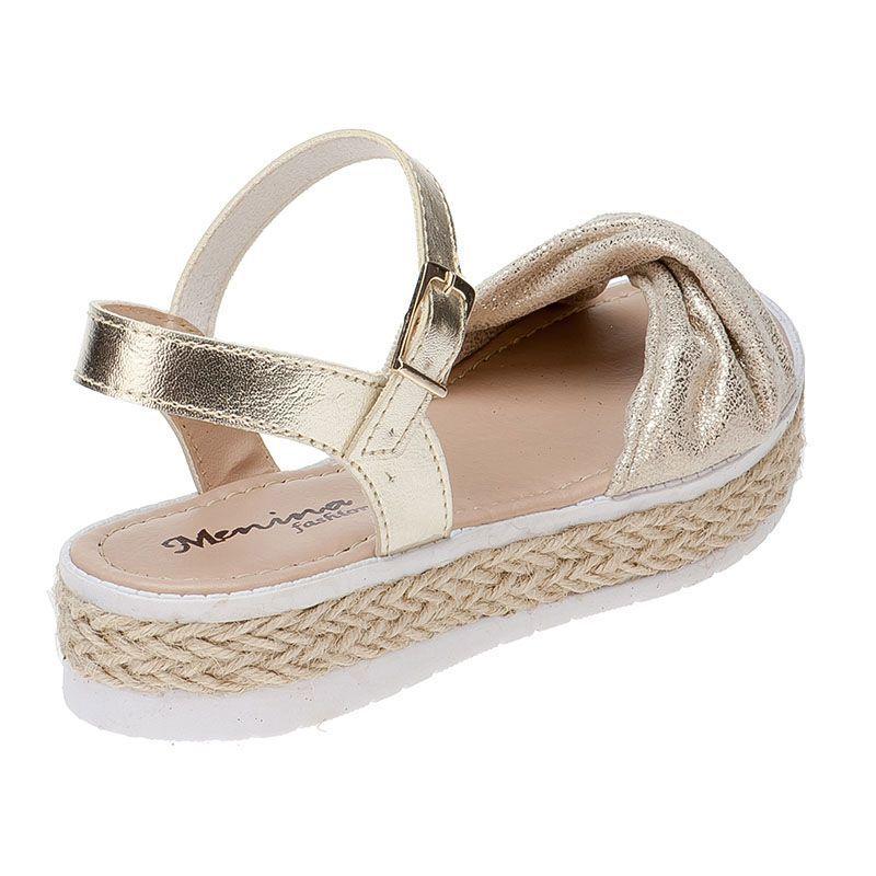 Sandália Flatform Tratorada Infantil com Laço de Glitter 74.60.033 | Dourado