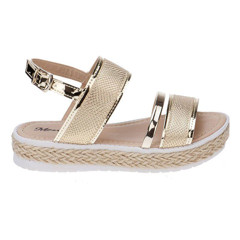 Sandália Flatform Tratorada Infantil com Tiras de Glitter 74.63.033 | Dourado