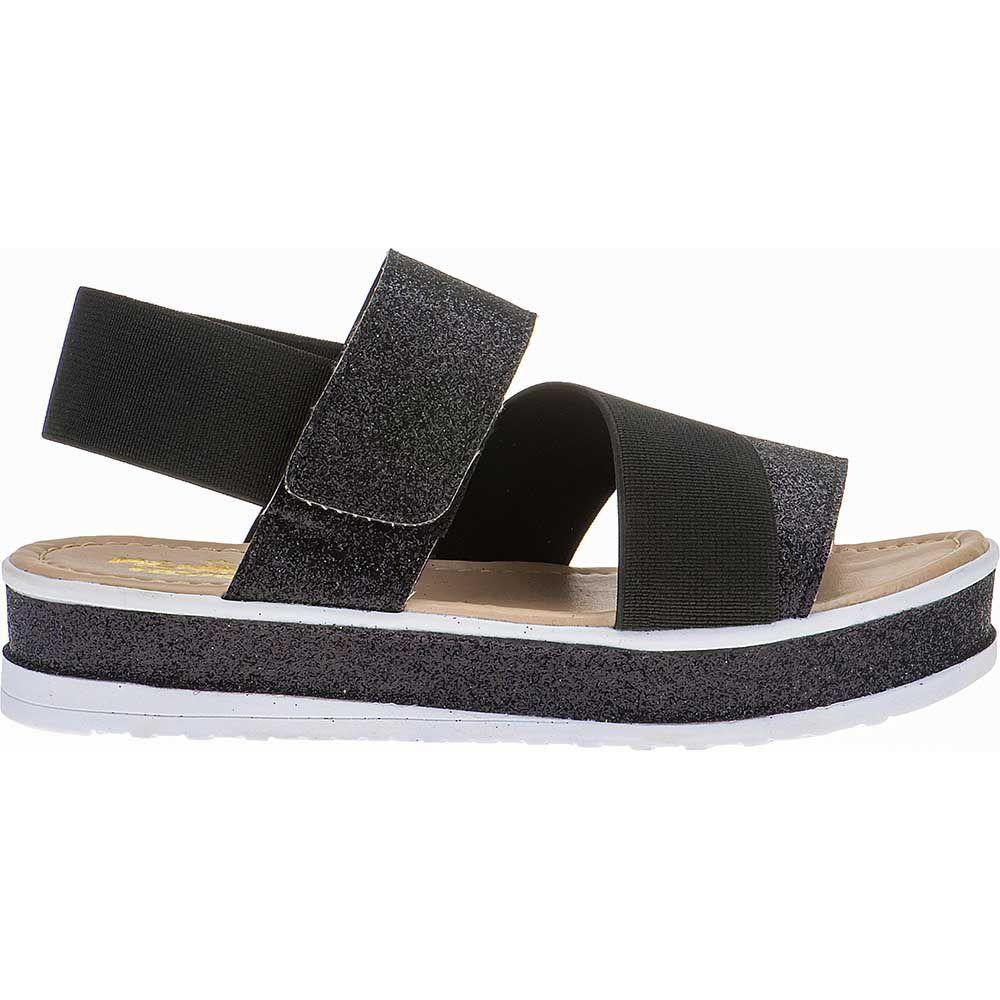 Sandália Flatform Tratorada Infantil Trançado Sola Glitter Velcro 74.72.009 | Preto