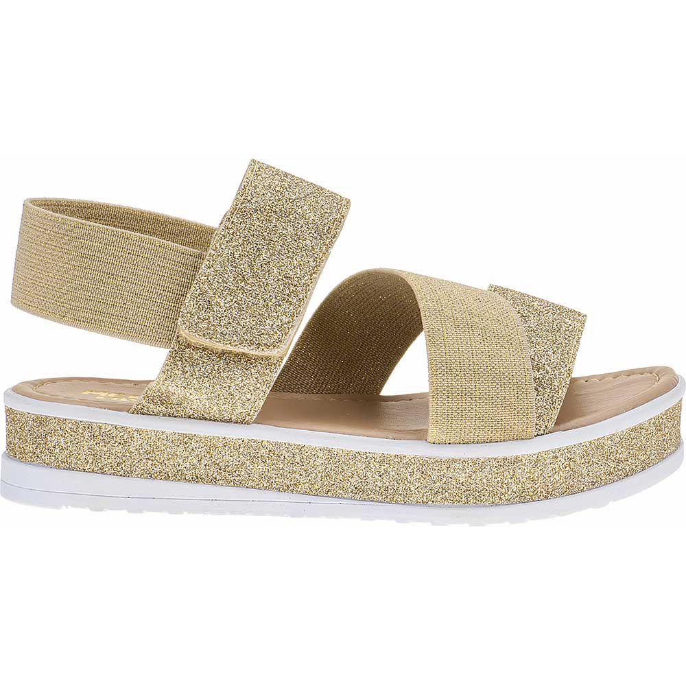 Sandália Flatform Tratorada Infantil Trançado Sola Glitter Velcro 74.72.033 | Dourado