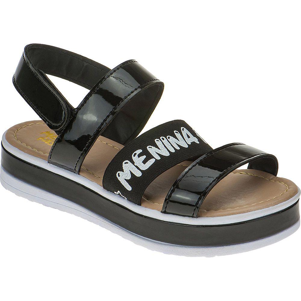Sandália Flatform Tratorada Infantil Verniz Velcro 74.74.009 | Preto