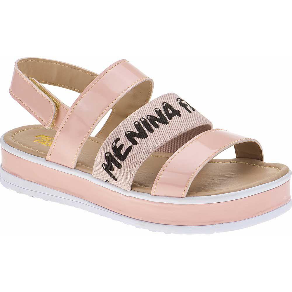 Sandália Flatform Tratorada Infantil Verniz Velcro 74.74.041 | Nude