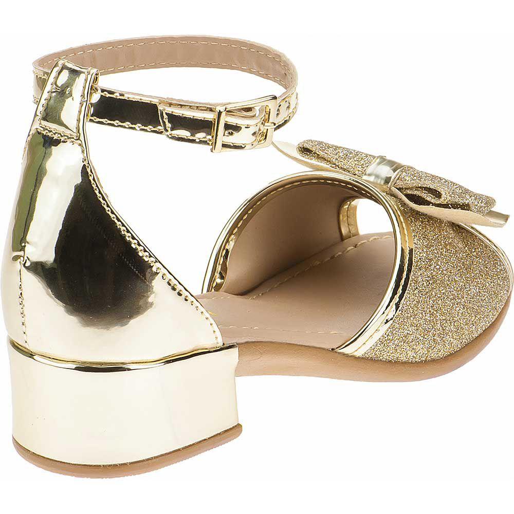 Sandália Infantil Laço Brilho Glitter Salto Baixo 68.55.033 | Dourado