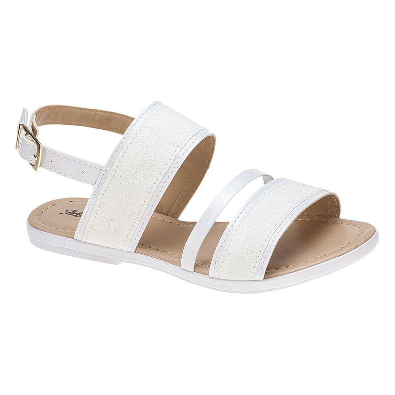 Sandália infantil tira grossa glitter 77.05.001 | Branco