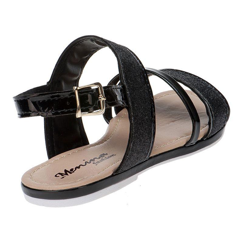 Sandália infantil tira grossa glitter 77.05.009 | Preto