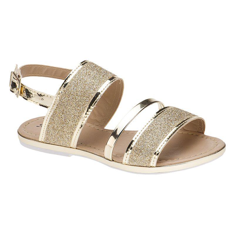 Sandália infantil tira grossa glitter 77.05.033 | Ouro Light