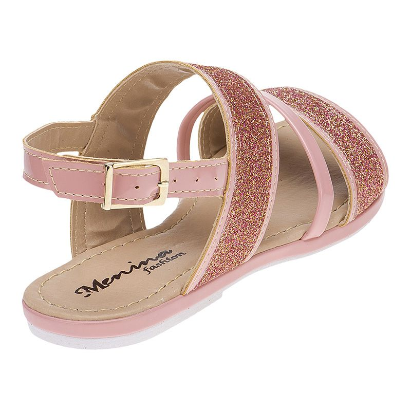 Sandália infantil tira grossa glitter 77.05.041   Nude