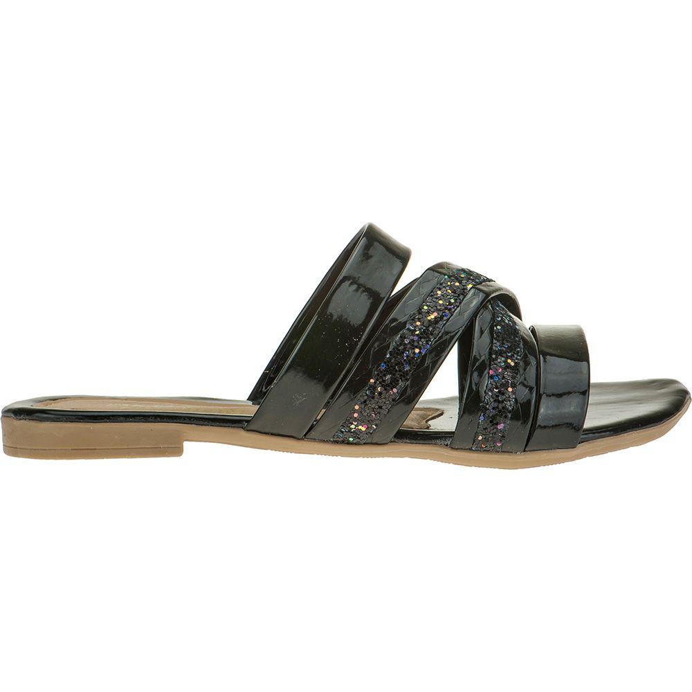 Sandália Infantil Tiras Glitter Menina Fashion Brilho 137.08.009 | Preto