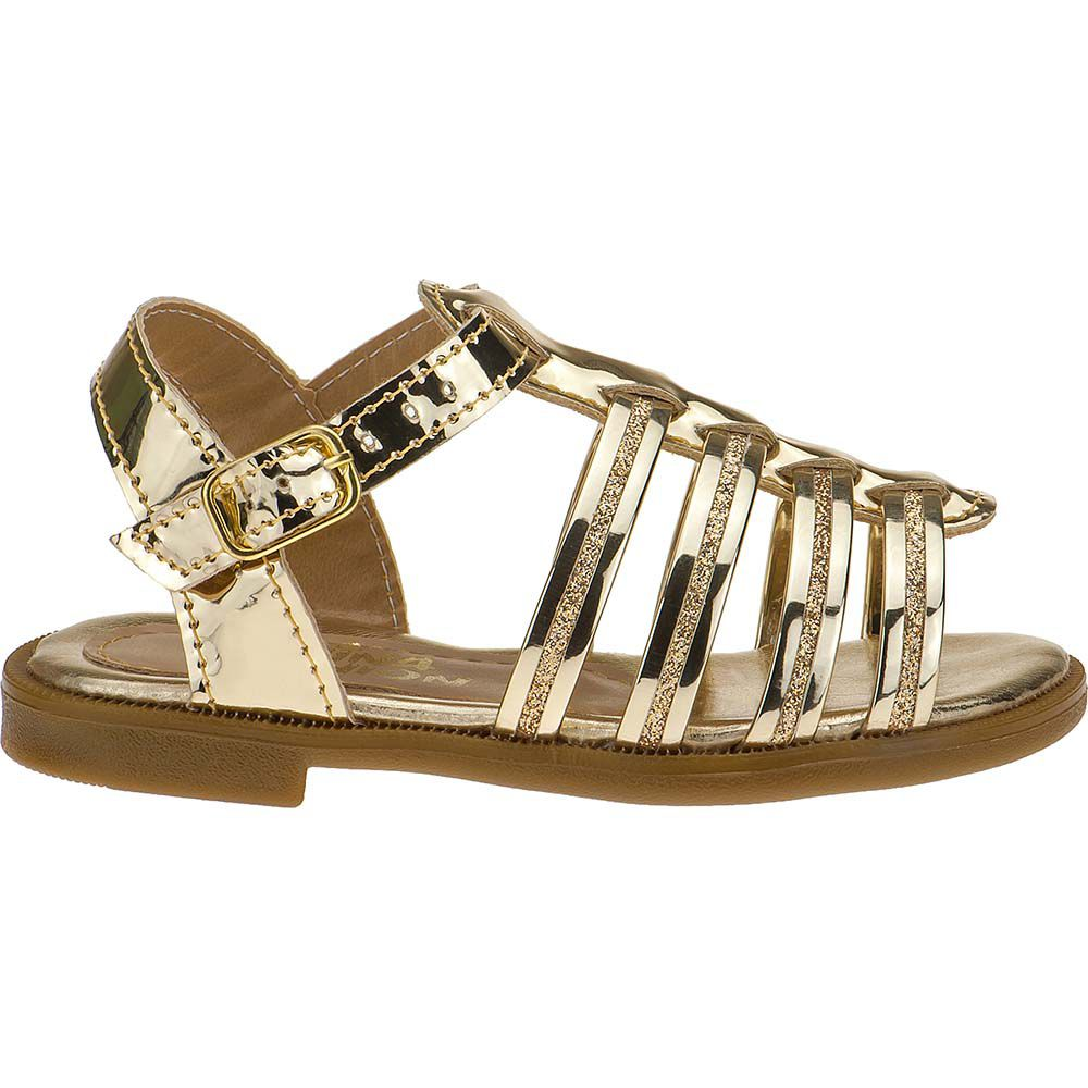 Sandália Rasteira Infantil Feminina Menina Fashion Tiras Glitter 137.05.033 | Dourada