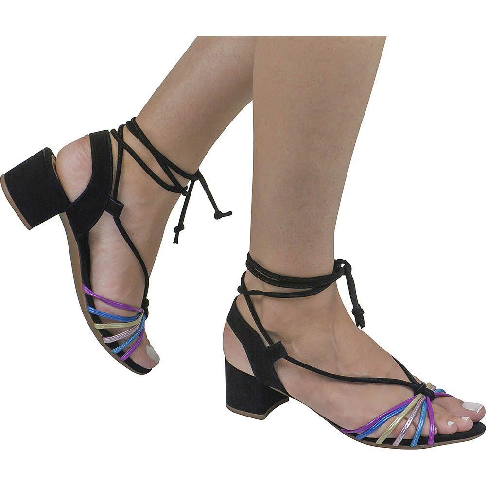 Sandália Salto Grosso Metalizada Com Tiras Coloridas 116.16.009   Preta