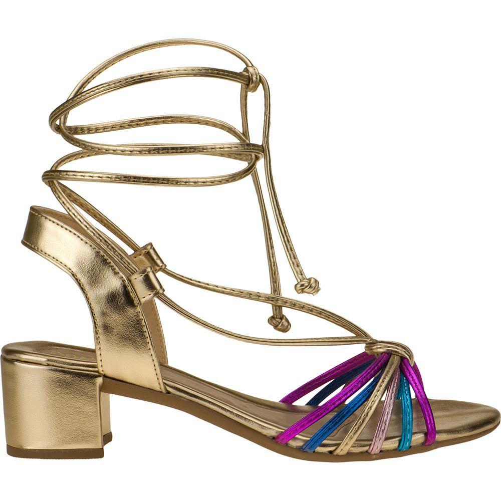 Sandália Salto Grosso Metalizada Com Tiras Coloridas 116.16.033 | Dourada