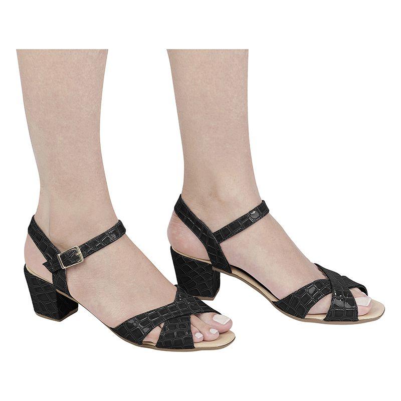Sandália Salto Grosso Verniz Croco 116.07.009 | Preto
