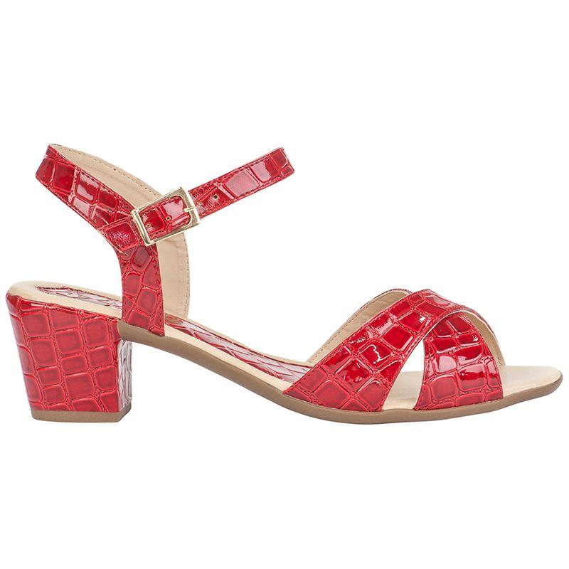 Sandália Salto Grosso Verniz Croco 116.07.012 | Vermelha