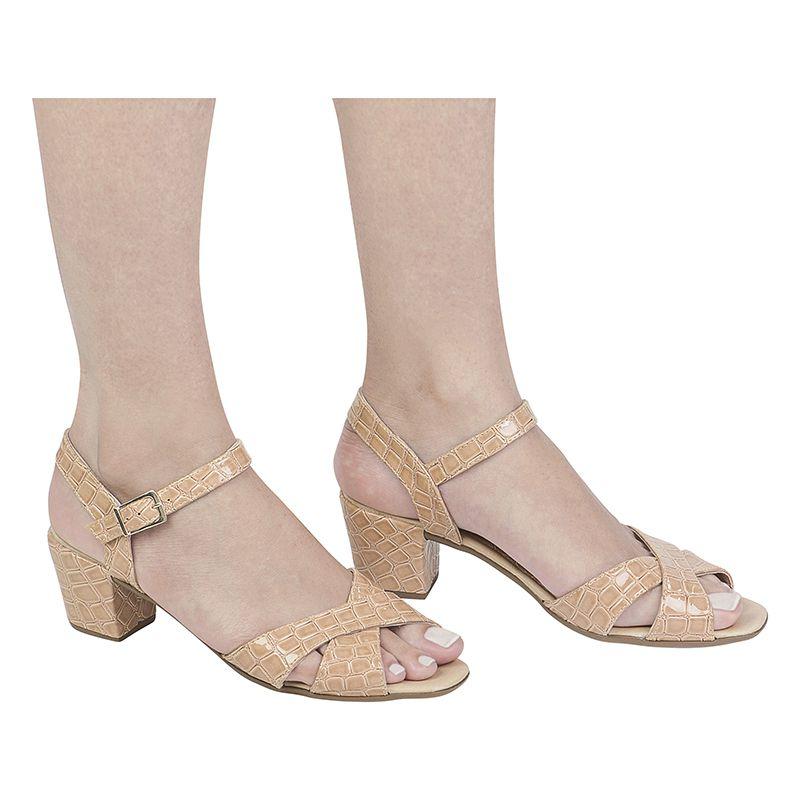 Sandália Salto Grosso Verniz Croco 116.07.041   Nude