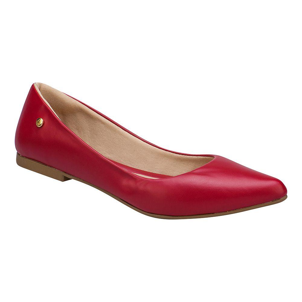 Sapatilha Feminina Bico Fino 118.10.012 | Vermelha