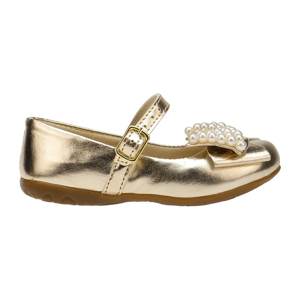 Sapatilha Menina Fashion Infantil Feminina bebê Laço Pérola 129.01.033 | Dourado