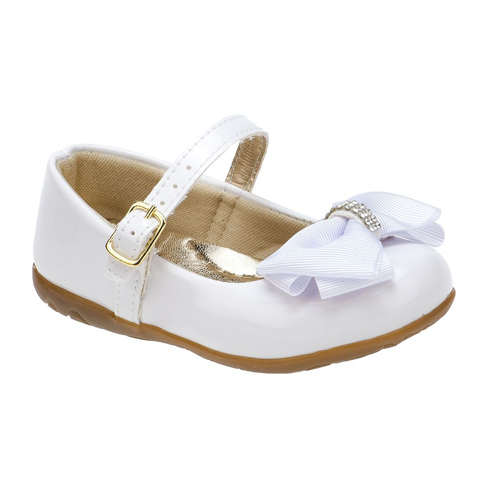 Sapatilha Menina Fashion Infantil Feminina bebê laço strass 129.02.001 | Branco