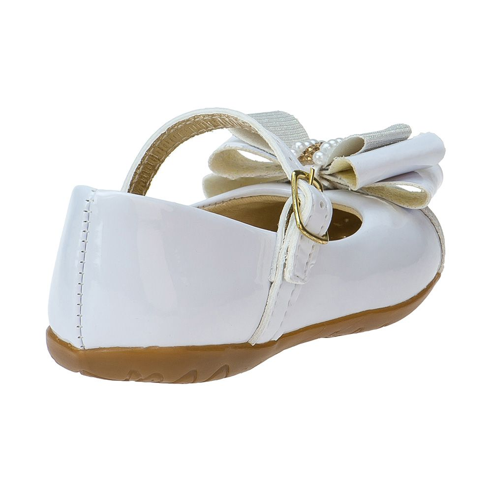 Sapatilha Menina Fashion Infantil Feminina bebê laço strass glitter 129.04.001 | Branco