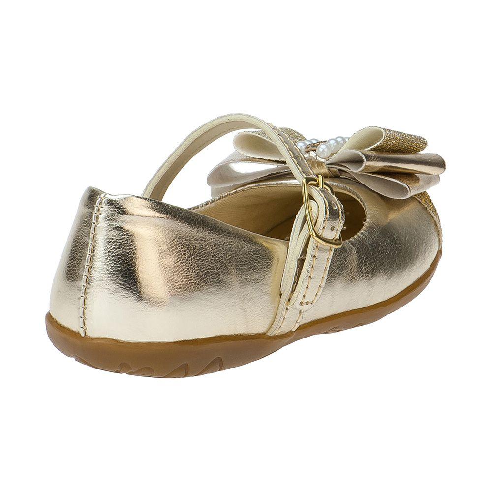 Sapatilha Menina Fashion Infantil Feminina bebê laço strass glitter 129.04.033 | Dourado