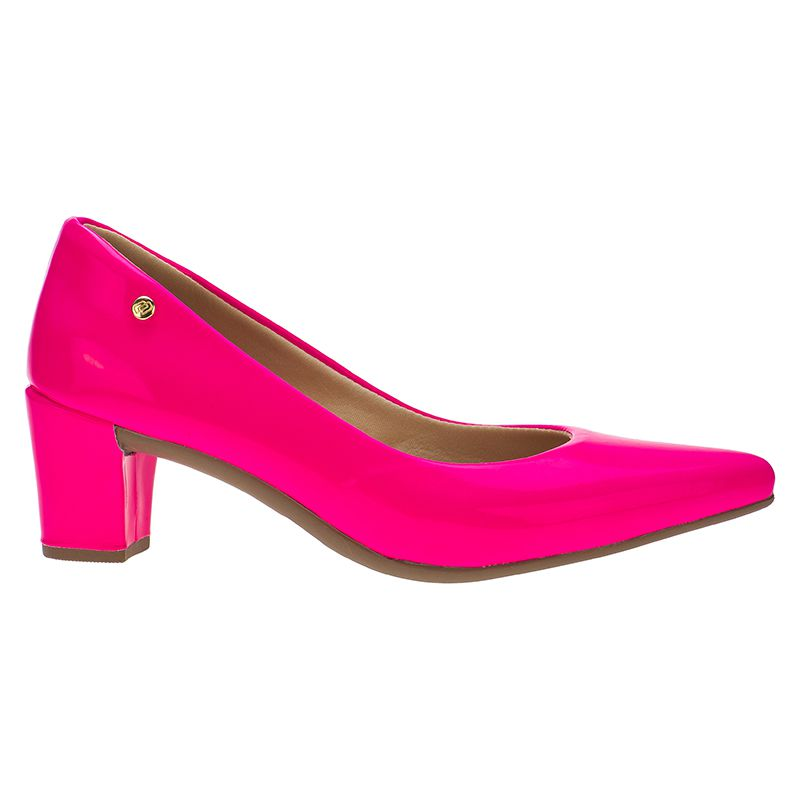 d6c1bcfb5 ... Scarpin Feminino Domidona Neon Fluorescente Salto Grosso 120.13.080 |  Rosa ...