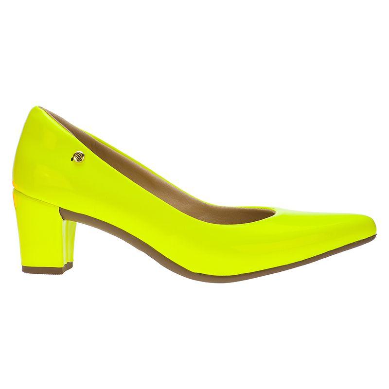 Scarpin Feminino Domidona Neon Fluorescente Salto Grosso 120.13.097 | Amarelo