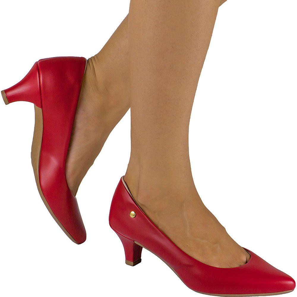 Scarpin Feminino Domidona Salto Baixo Fino 135.02.012 | Vermelho