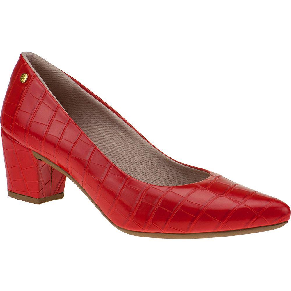 Scarpin Salto Grosso Feminino Croco Domidona 120.19.012 | Vermelho