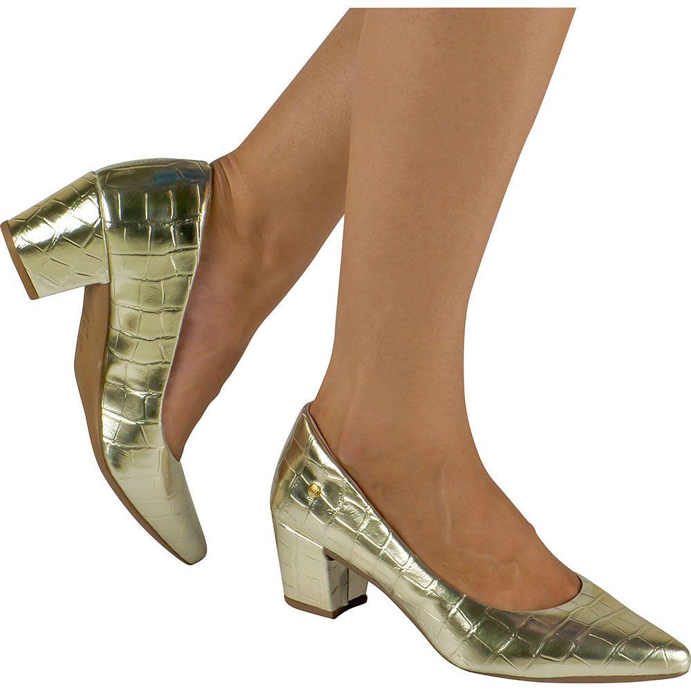 Scarpin Salto Grosso Feminino Croco Domidona 120.19.033 | Dourado