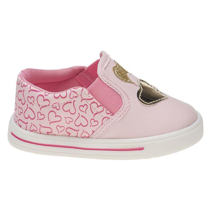 Slip On Menina Fashion Bebê Elástico Coração Bordado 157.16.002 | Rosa