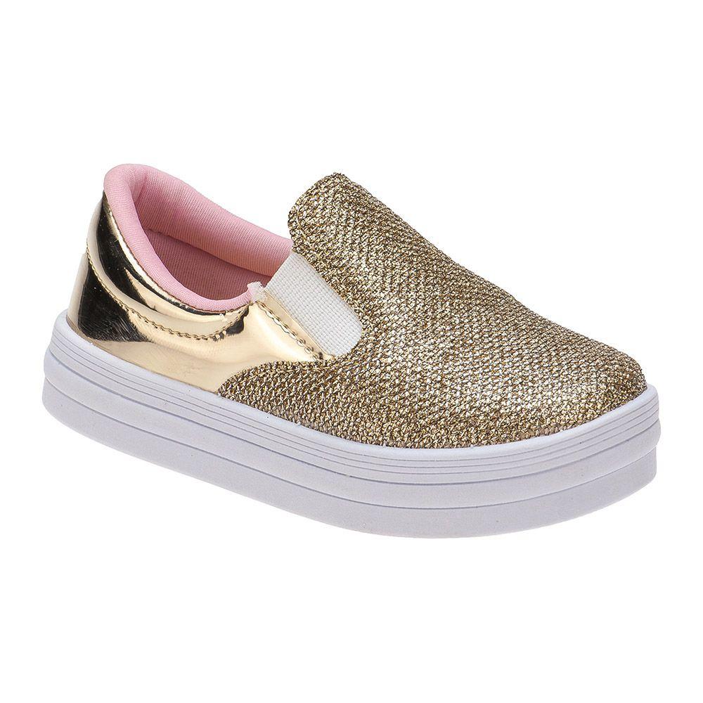 Slip On Menina Fashion Casual Bebê 157.12.033 | Dourado